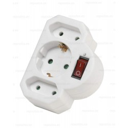 Adaptador de Enchufe Europeo A3, 3 enchufes, con interruptor 27369